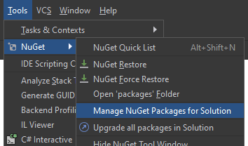 Command to manage NuGet packages in Rider