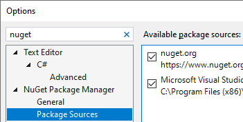 Package Sources Options in Visual Studio